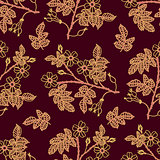 Dark vinous seamless pattern with eglantine