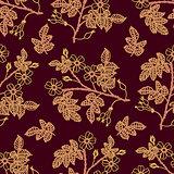 Dark vinous seamless pattern with eglantine
