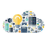 Icons for technology and devices arranged in cloud shape