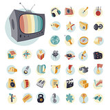 Vintage icons set for entertainment