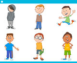 kid boys characters cartoon set
