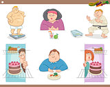 people on diet cartoon set