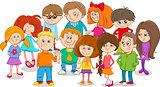 school kids group cartoon