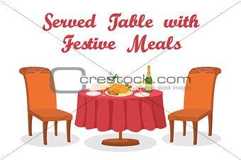 Cartoon Table with Meal, Isolated