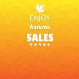Geometric triangular background card with maple leaf, enjoy autumn sales