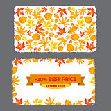 Card with discount of 20 percent. Autumn flyer template  leaves.