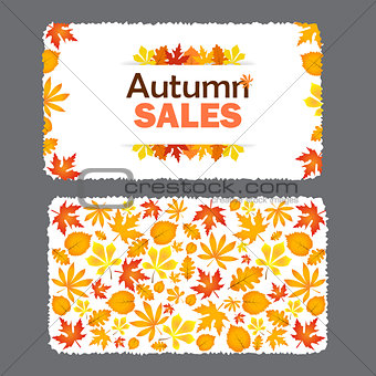Autumn sale flyer template with lettering.