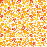 Autumn falling maple and oak leaves, seamless pattern on white background.
