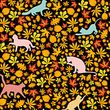 cats and autumn leaves, seamless pattern