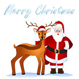 Merry Christmas card with deer and Santa