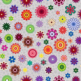 Seamless pattern with flowers over greyish background
