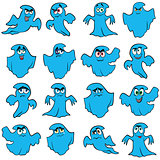 Set of sixteen blue flying ghosts