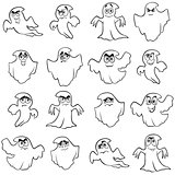 Set of sixteen funny flying ghost outlines