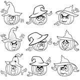 Gesticulating pumpkins outlines in hats