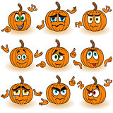 Amusing gesticulating orange pumpkins