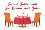Table, Ice Cream and Juice Isolated