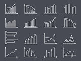 Graphs and Charts Line Icons