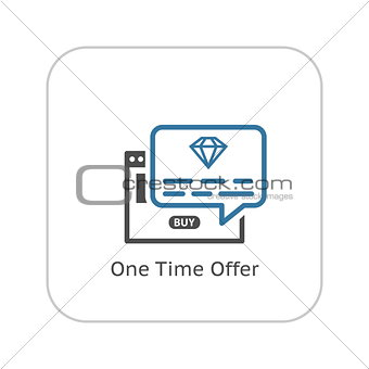 One Time Offer Icon. Flat Design.