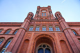 Red town hall of Berlin - massive red brick building