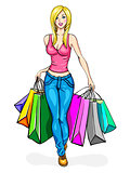 Girl blonde, carries a lot of shopping bags