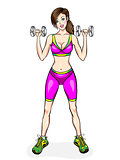 Young girl do exercises with dumbbells