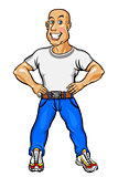 Smiling man in shirt and blue jeans
