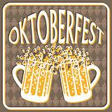 Vintage styled emblem for Oktoberfest festival.