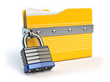 Yellow folder and lock. Data and privacy security concept. Infor
