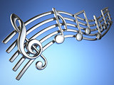 Silver music notes and treble clef on musical strings on blue ba