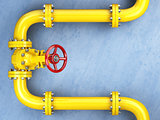 Yellow gas pipeline valve on a blue wall. Space for text.