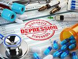 Depression diagnosis. Stamp, stethoscope, syringe, blood test an