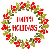Happy Holiday vector card with christmas wreath