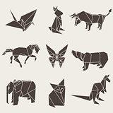 Vector illustration of origami paper animals