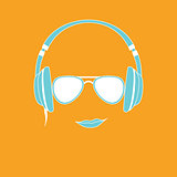 Vector illustration of man with headphones