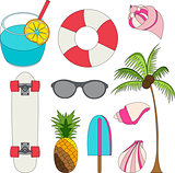 Vector illustration set of summer lovely things
