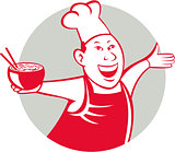 Asian Chef Serving Noodle Bowl Dancing Circle Cartoon