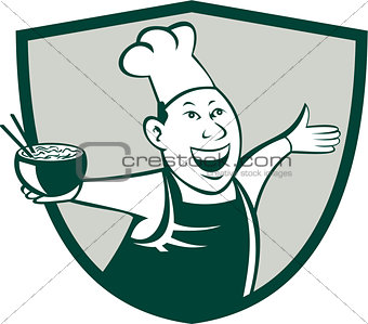 Asian Chef Serving Noodle Bowl Dancing Crest Cartoon