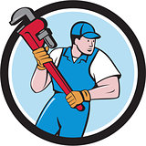 Plumber Holding Pipe Wrench Circle Cartoon