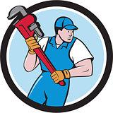 Plumber Holding Pipe Wrench Circle Cartoon