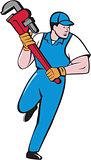 Plumber Running Pipe Wrench Cartoon