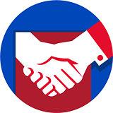 Business Deal Handshake Circle Retro