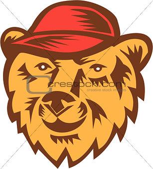 Bear Head Wearing Hat Woodcut