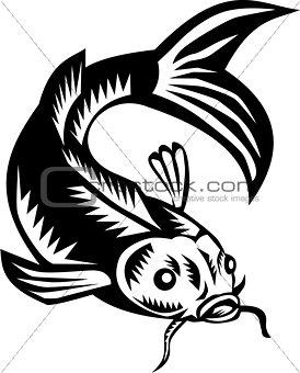 Koi Nishikigoi Carp Fish Woodcut