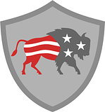 North American Bison USA Flag Shield Retro