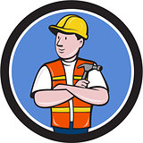 Builder Carpenter Folded Arms Hammer Circle Cartoon