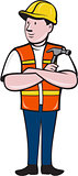 Builder Carpenter Folded Arms Hammer Cartoon