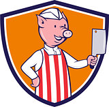 Butcher Pig Holding Meat Cleaver Crest Cartoon
