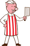 Butcher Pig Holding Meat Cleaver Cartoon