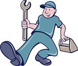 Mechanic Spanner Foot Forward Cartoon