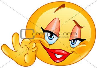 Ok sign female emoticon